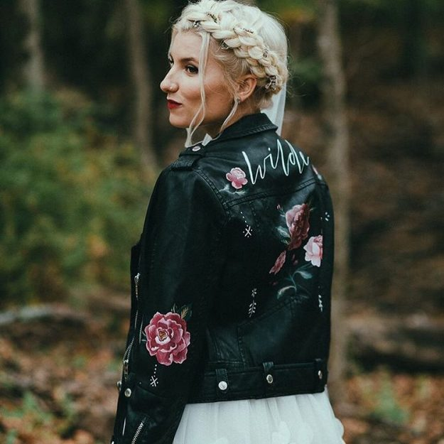 painted leather jacket for wedding