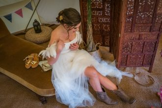 Boho wedding dress and bride and in our 7m chill out bell tent
