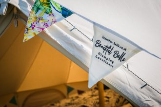 Beautiful Bells' branded bunting, bespoke and made in house