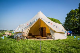 7m bell tent, decorated as a chill out tent