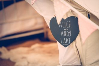 Personalised bell tent signage on request