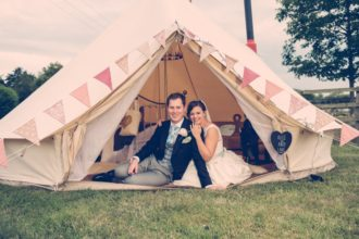 Alice and Andy in the Snug wedding bell tent