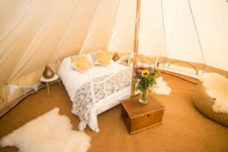 Our beautiful 5m wedding bell tent with real bed