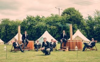 Andy and his groomsmen in Oxford for their outdoor inspired wedding