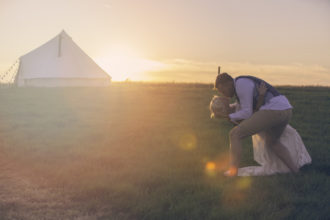 Real wedding: And swoon. A picturesque sunset, our stunngin bride and groom and out log burner wedding bell tent