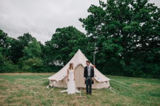 The Bride and Groom and their honeymoon bell tent