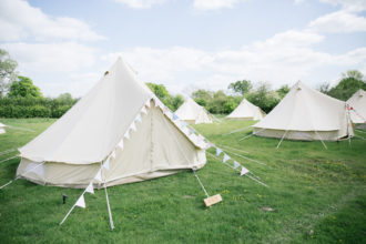 Glamping bell tents for weddings, set up in West Sussex