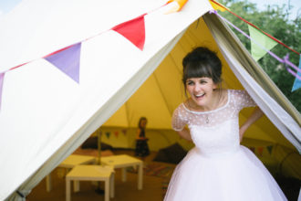Real wedding: 7m chill out bell tent set up at the Secret Barn, West Sussex