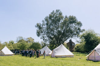 Ros and Chris' bell tent village at the Secret Barn