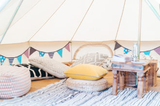 Inside one of our 5m chill out bell tent lounges