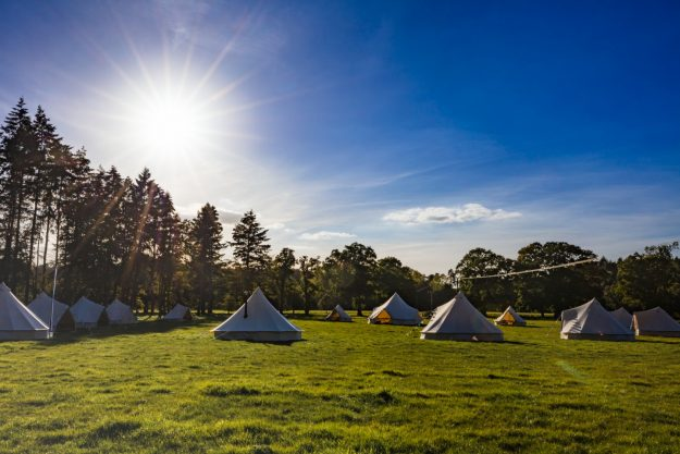 Bell tents set up at Somerley House, bell tent hire Hampshire