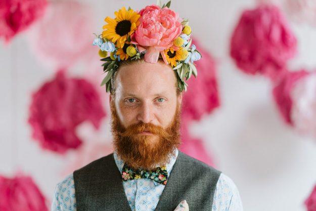 Man in flower crown