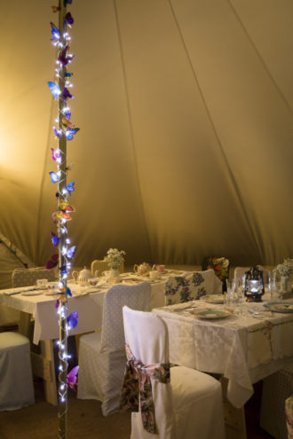 Our 7m bell tent set up as a Vintage tea party tent