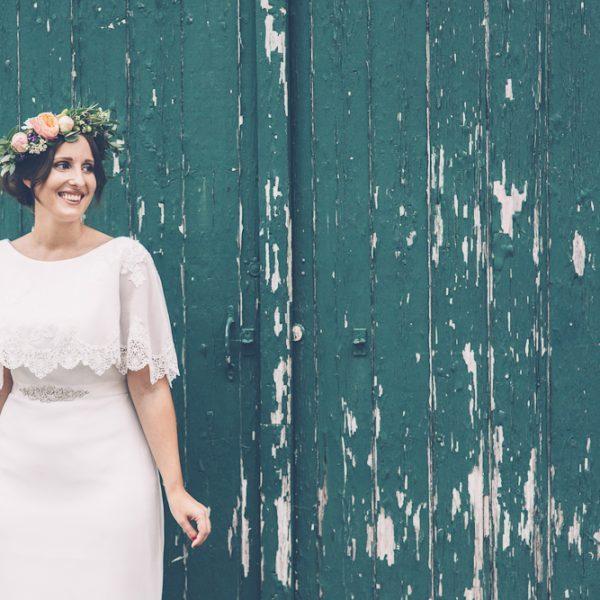 Natalie in boho wedding dress at the Secret Barn, West Sussex
