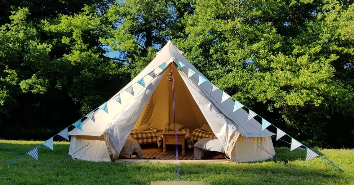 5m bell tent set up for corporate glamping. Also available for the Nostalgia Show 2019