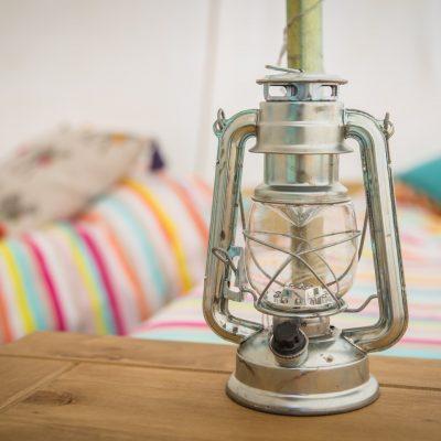 Lantern inside bell tent