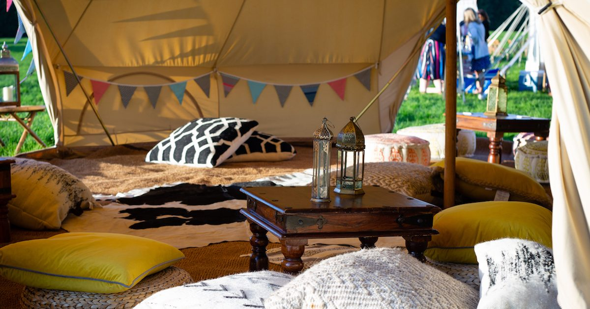 Interior of 7m chill out bell tent. Bell tent hire Surrey.