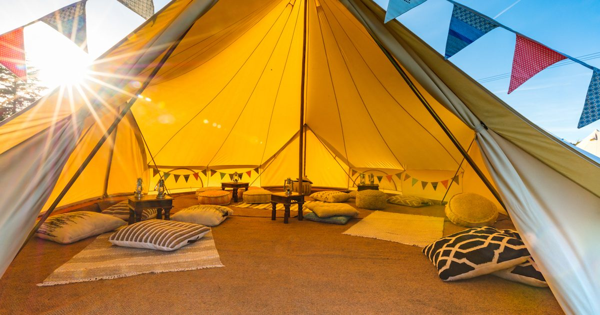 7m chill out bell tent interior, in quad door 7m bell tent. Chill out tents for birthday parties.