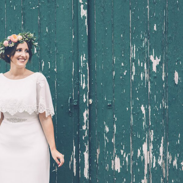 Natalie stood outside the Secret Barn. Barn wedding inspiration. Bell tent hire West Sussex