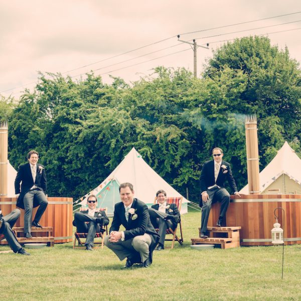 Andy infront of hot tubs and bell tents. Wedding inspiration. Bell tent hire Oxford