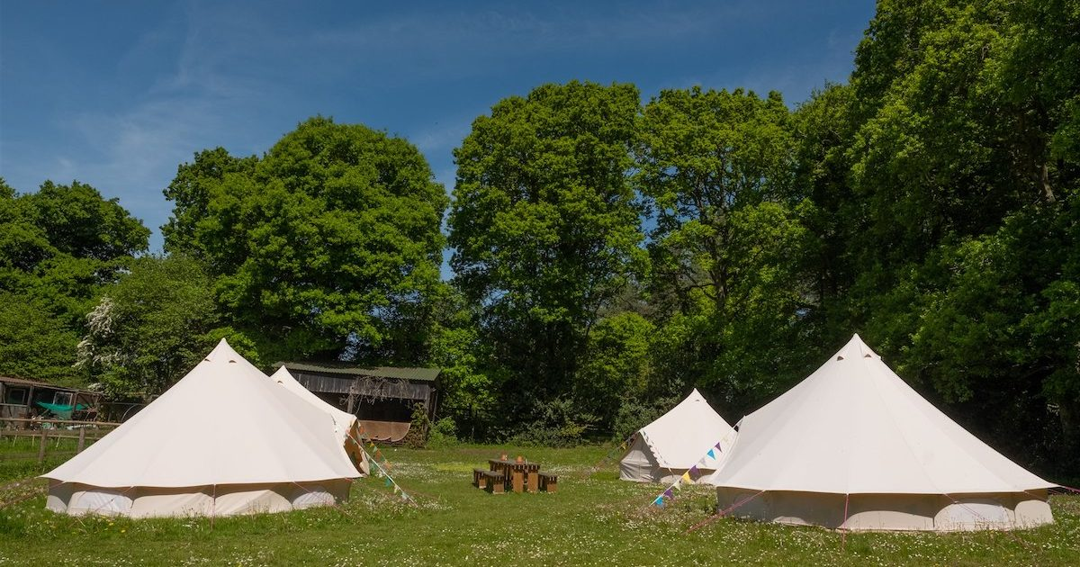 Showing the Tribe hen camp area at Hillside hen camp. Luxury glamping for hen parties.