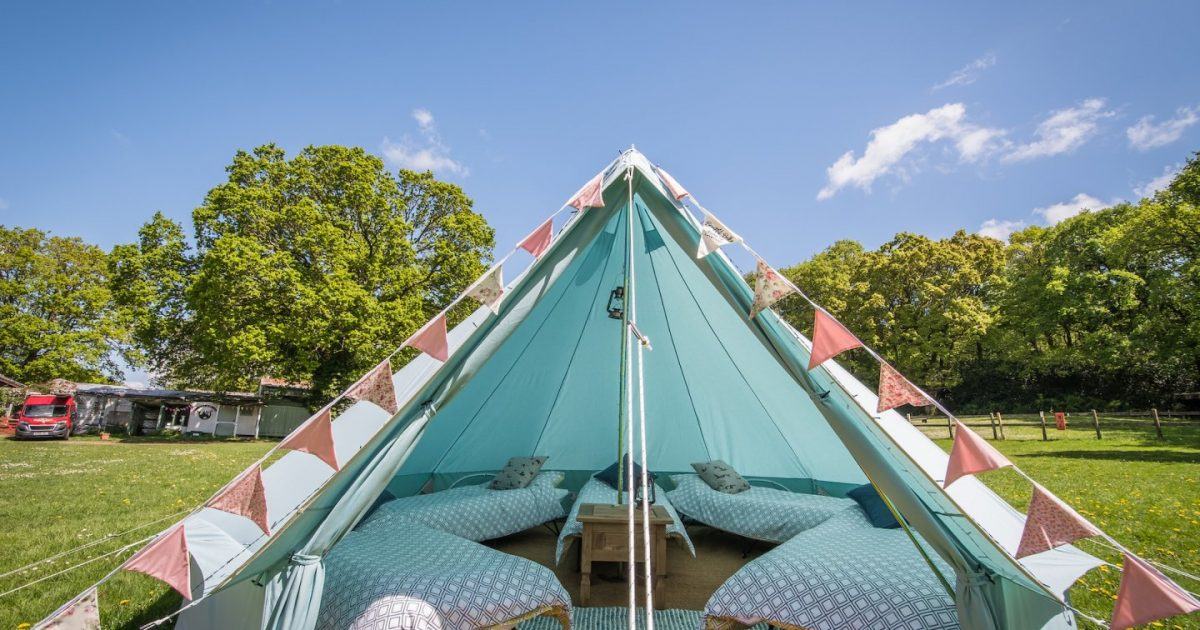Blue bell tent in our Tropic camp area for hen party glamping weekends in the New Forest