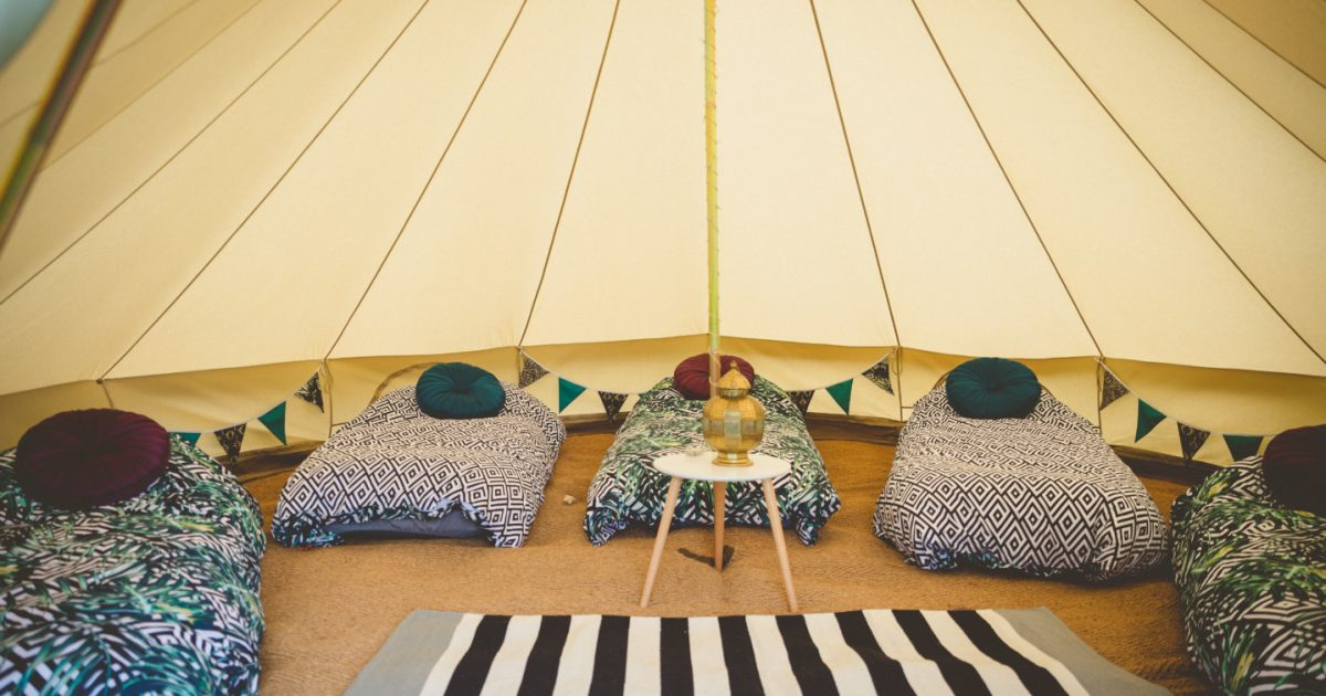 5m glamping bell tent hire. Rent a bell tent in Hampshire, West Sussex and Surrey