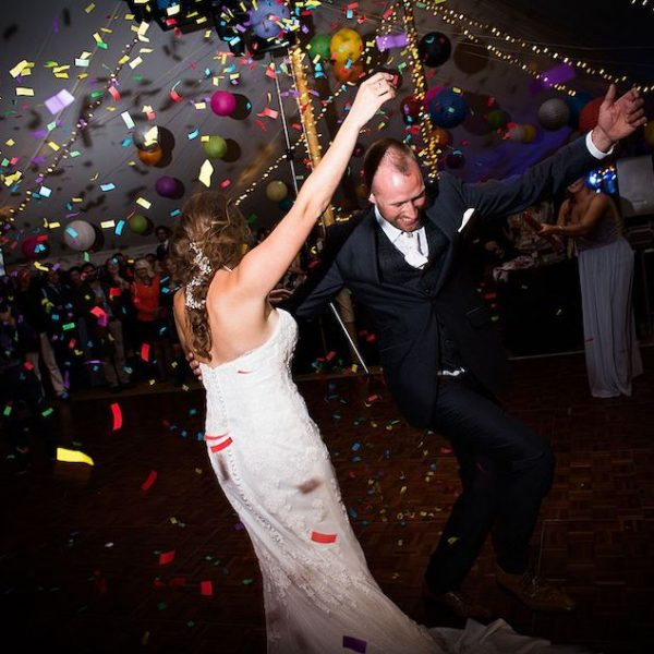 Eloise and Ash dancing at House on the Brooks. Bell tent hire West Sussex