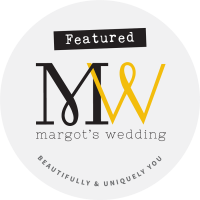 Margots wedding badge - Beautiful Bells are featured here for an outdoor wedding weekender photoshoot