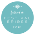 Festival brides badge 2018 Beautiful Bells have been featured in this national blog for an outdoor wedding House On the Brooks, West Sussex.