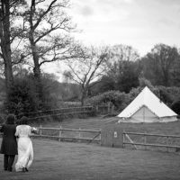 Our Snug wedding bell tent all set up for Liz and Rolo