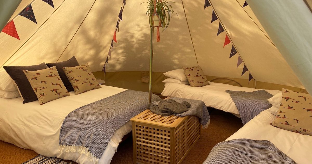 Interior of 5m Lux gleaming tent. Rent a bell tent in Hampshire, Sussex and Surrey