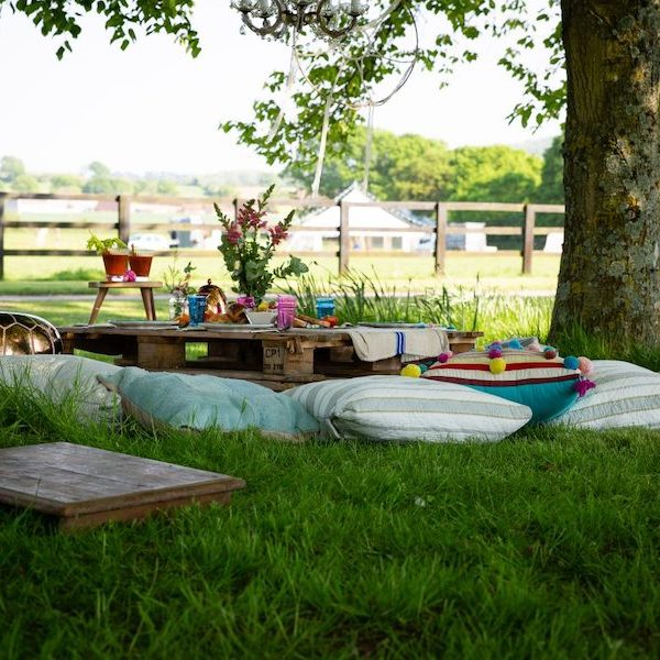 Outdoor cinema set up. Styled shoot. Bell tent hire Hampshire