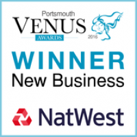 Venus awards winners badge. Category sponsored by Natwest we won for New Business