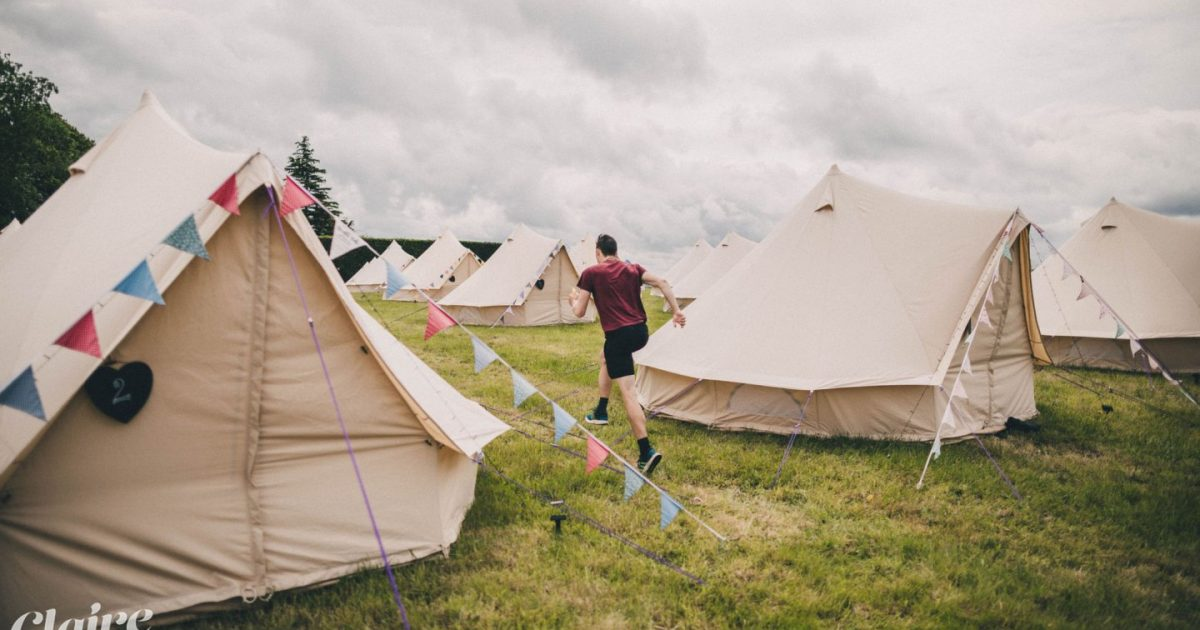 Wedding bell tent village set up in Hampshire.