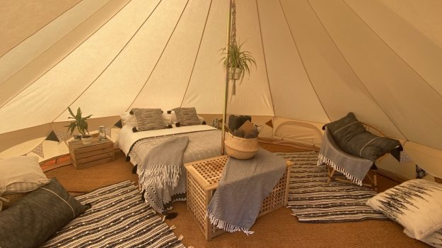 Date night dens for garden glamping in Hampshire, West Sussex and Surrey. Internal photo of 5m date night den.
