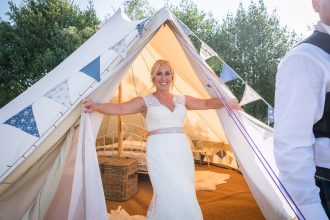 Camilla in the wedding bell tent at Patricks Barn, West Sussex