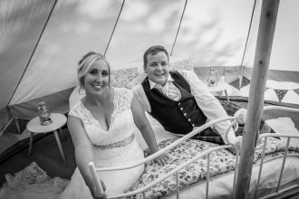 Camilla and Malcolm in their wedding bell tent at Patricks Barn