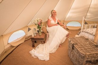 Camilla in our standard white wedding bell at Patricks Barn, West Sussex