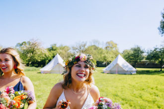 Ros in her wedding glamping bell tent village at the Secret Barn, West Sussex