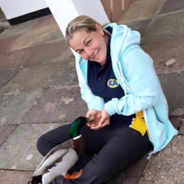 Meet the team: Lou from Beautiful Bells feeding some ducks